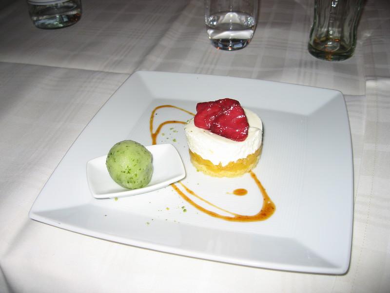 Dessert of pineapple pie with basil sorbet at Restaurant Sand in Hoek van Holland