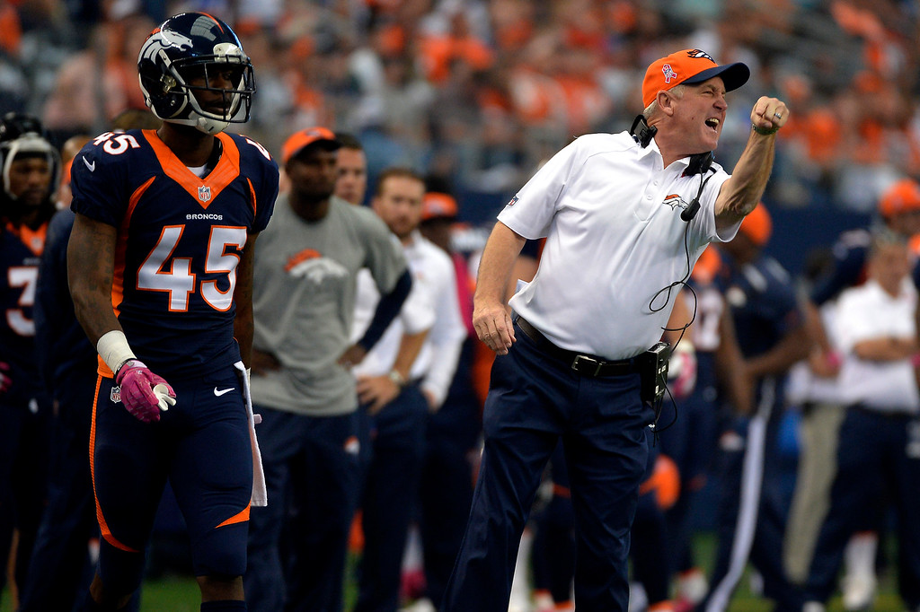 . Head coach John Fox of the Denver Broncos having problems in the first quarter vs the Dallas Cowboys in game 5 at AT&T Stadium October 06, 2013 Arlington, Texas. (Photo By Joe Amon/The Denver Post)