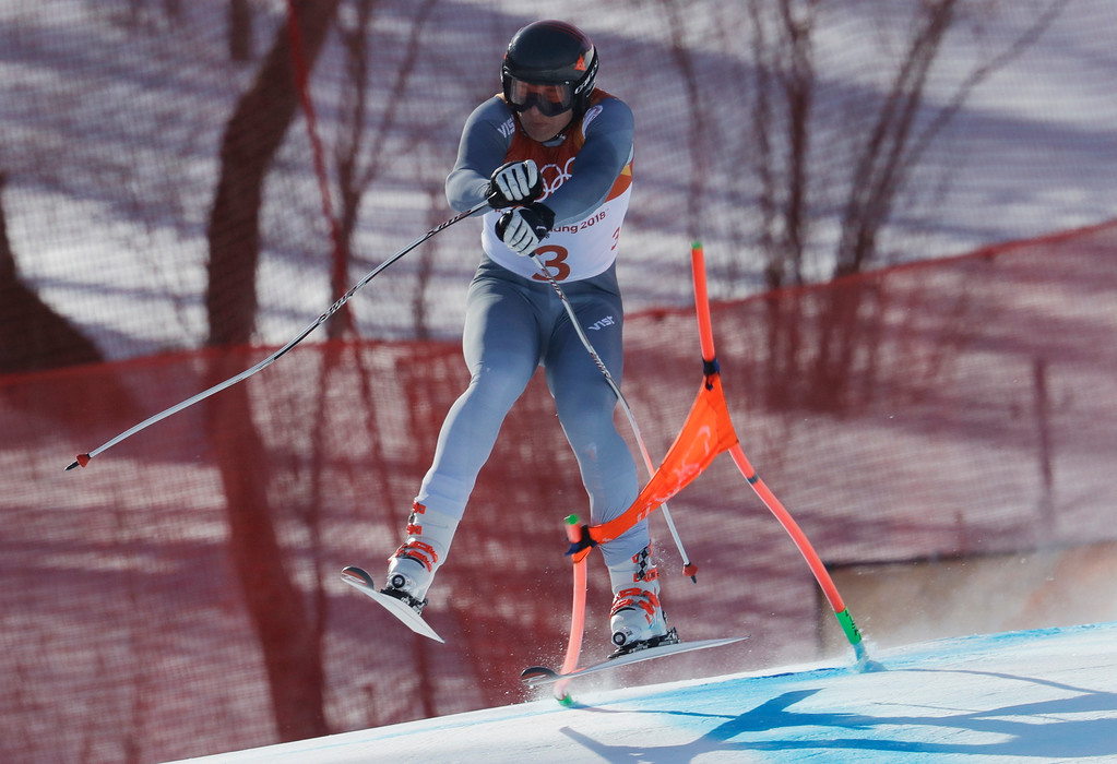 . Russia\'s PavelTrikhichev crashes during the downhill portion of the men\'s combined at the 2018 Winter Olympics in Jeongseon, South Korea, Tuesday, Feb. 13, 2018. (AP Photo/Michael Probst)