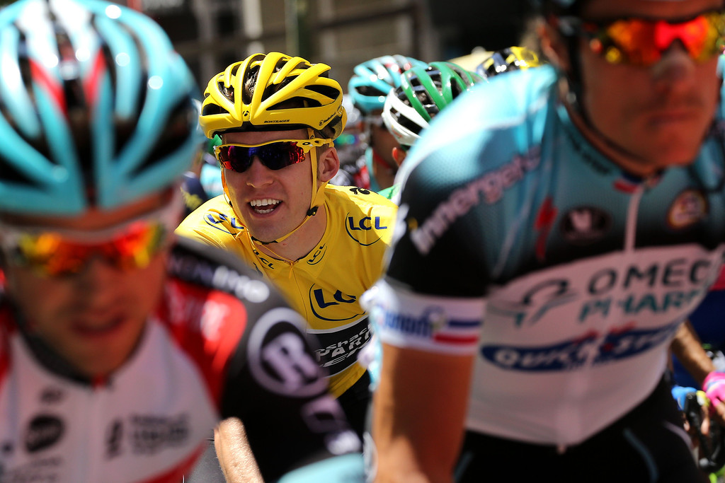 . Overall leader\'s yellow jersey Belgium\'s Jan Bakelants (C) rides during the 145.5 km third stage of the 100th edition of the Tour de France cycling race on July 1, 2013 between Ajaccio and Calvi, on the French Mediterranean Island of Corsica.  AFP PHOTO / PASCAL GUYOT/AFP/Getty Images
