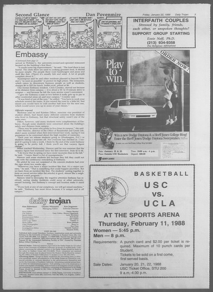Daily Trojan, Vol. 106, No. 9, January 22, 1988