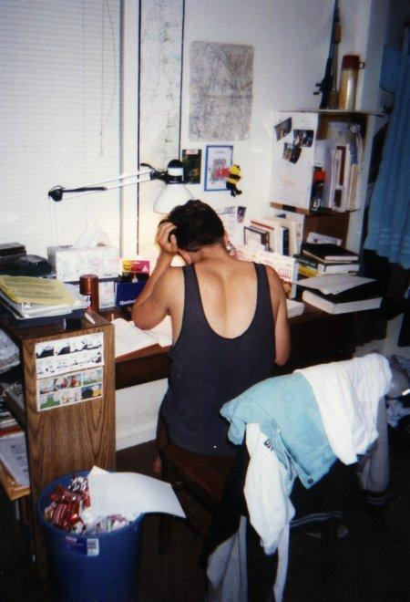 Stefan studying our senior year out in the senior dorms