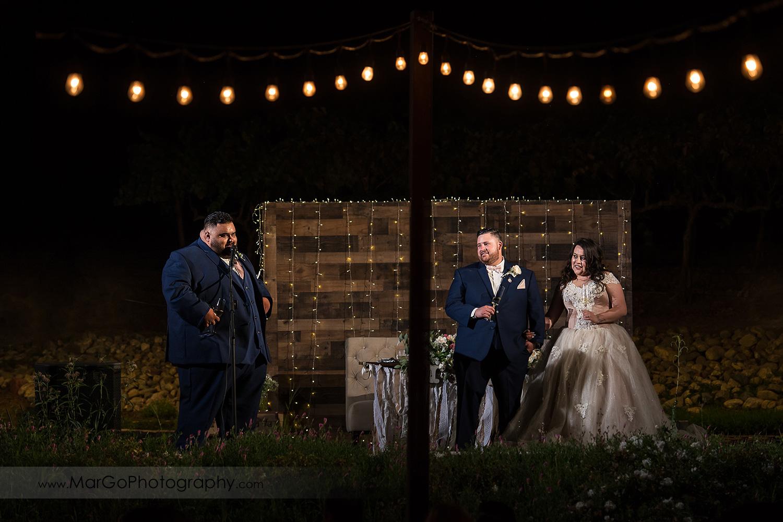 wedding reception memory wall at Taber Ranch Vineyards