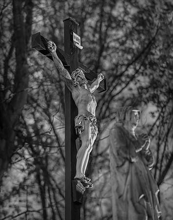 Fine Art cultuur foto van Christus aan het Kruis Jezus Onze Lieve Heer op het oude kerkhof van Nistelrode.