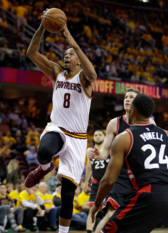 . Cleveland Cavaliers\' Channing Frye (8) drives to the basket against the Toronto Raptors in the second half in Game 1 of a second-round NBA basketball playoff series, Monday, May 1, 2017, in Cleveland. The Cavaliers won 116-105. (AP Photo/Tony Dejak)