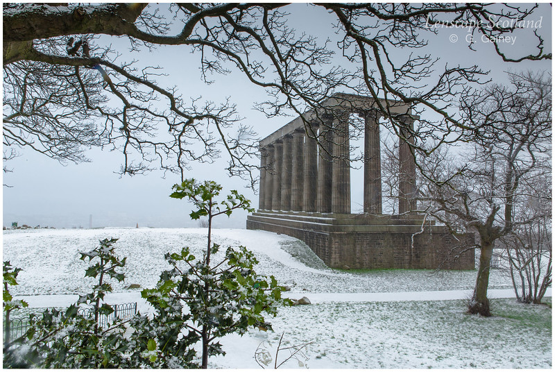 Holly in front of the National Monument on Calton Hill