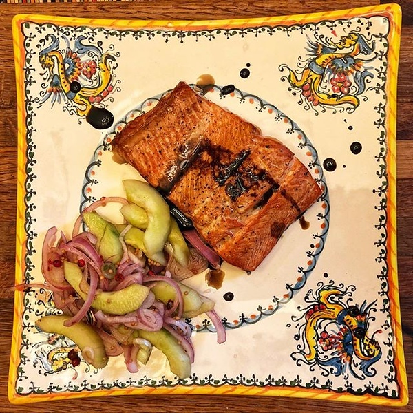 On the table tonite: cedar planked Alaskan sockeye salmon with cucumbers, pink peppercorns and 10-year-old balsamic