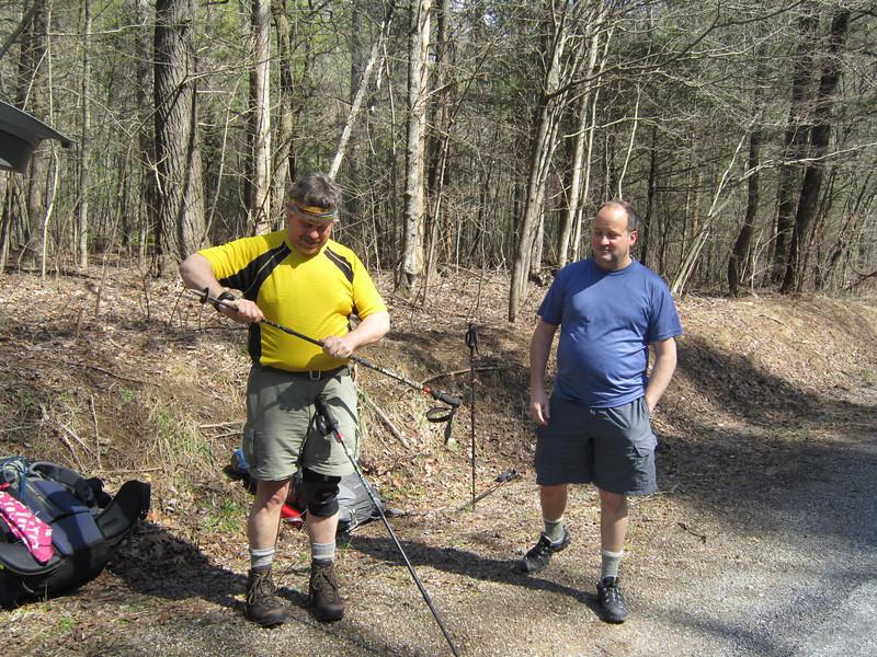 Stalking Tortoise adjusts the hiking poles while Smoking Sox supervises.