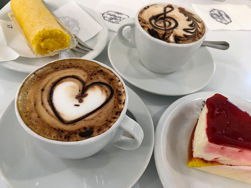 Cappuccino art work. The pastries were also works of art; really good!