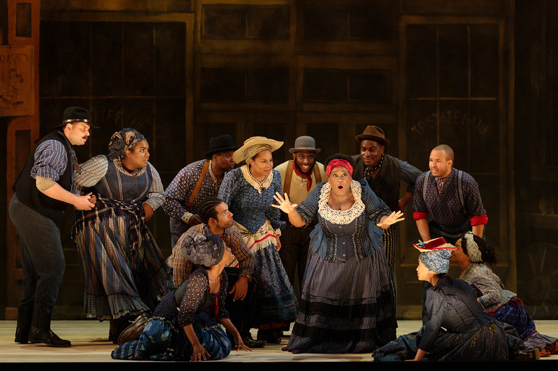 """Judith Skinner as Queenie and members of the ensemble  in The Glimmerglass Festival's 2019 production of """"Show Boat."""" Photo Credit: Karli Cadel/The GlimmerglassFestival"""