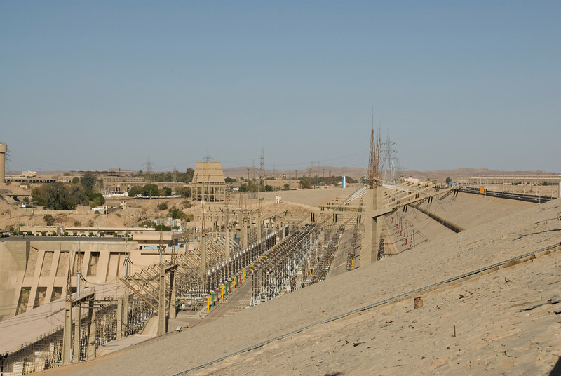 Wide shot of electrical infrastructure near Aswan High Dam, Egypt