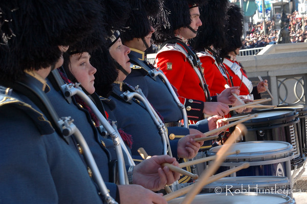 Drummers in the pipe and drum band at the 2009 Remembrance Day Ceremony in Ottawa, Ontario.  © Rob Huntley