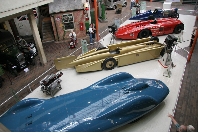 Four holders of the World Land Speed record.  From top to bottom they are Sunbeam 350HP (1920; later brought by Malcolm Campbell and renamed Bluebird), Henry Seagrave's Sunbeam 1000HP(1927), Henry Seagrave's Golden Arrow (1929) and Donald Campbell's Bluebird (1964).
