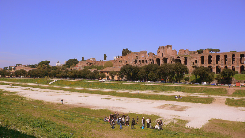 The chariot racing grounds of the Circus Maximus, the roman equivalent of modern day Formula 1. The track could hold up to 12 chariots, and there were frequent crashes ending in the deaths of the horses and contestants.