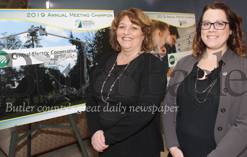 Harold Aughton/Butler Eagle: (left - right)  Mitzi Evankovich, project raining manager; and Laura Hensley, Member Engergy Specialist, represented the Central Electric Cooperative at the Community Development Corporation of Butler County, Friday, March 29 at the Regional Learning Alliance.