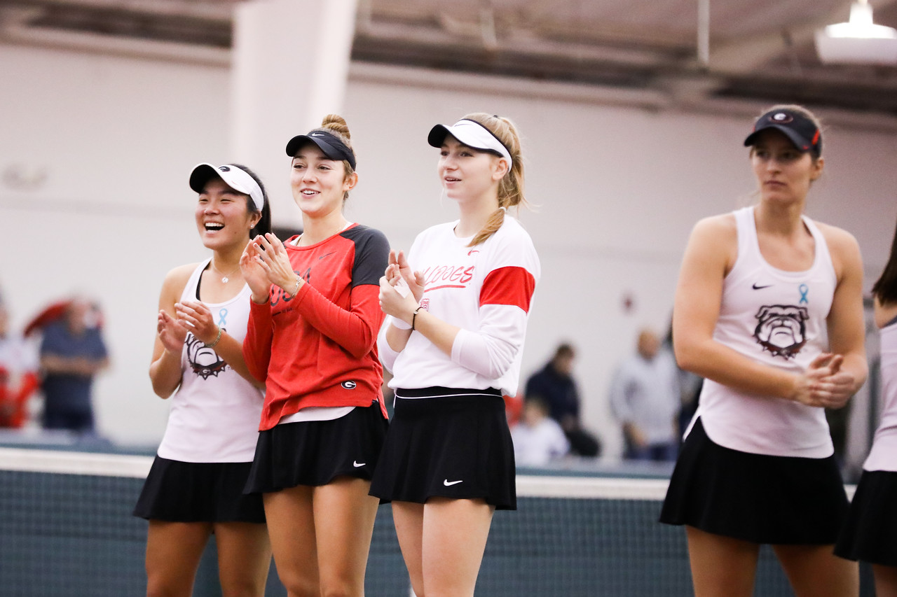 Georgia tennis players Marta Gonzalez, Katarina Jokic, and Anna Hertel during an ITA Kick-Off Weekend match against Michigan State in the Lindsey Hopkins Indoor Center in Athens, Ga., on Sat., Jan. 25, 2020. (Photo by Tony Walsh)