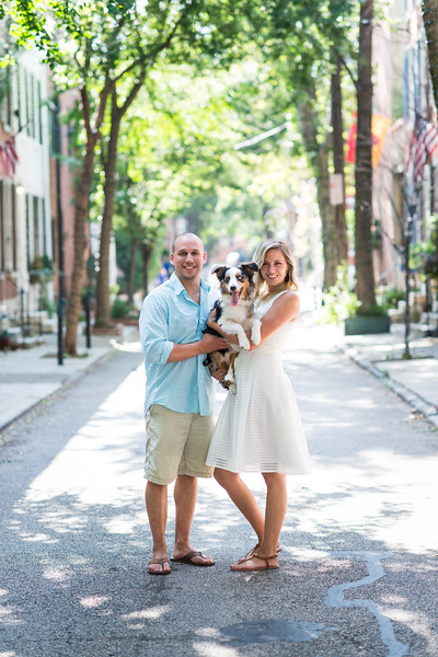 """DEVON & ERIC with Puppy BOHDI - """"Our latest engagement shoot took us to the city of brotherly love, the one and only Philadelphia! We were so thrilled to be able to shoot in a city for an even cooler couple.   Devon and Eric showed Emerald Stone the ropes and introduced us to just a few of their favorite spots, including the scenic walking paths near the Ben Franklin Bridge, some quiet, quaint spots beside the Schuylkill River, and the awesome PHS Pop-Up Garden and Biergarten on South Street.  Even better yet, we got to meet Devon and Eric's 8 month old puppy, Bodhi, who is too adorable for words. We're pretty much totally in love with this couple and their home, and it's not hard to see why."""""""