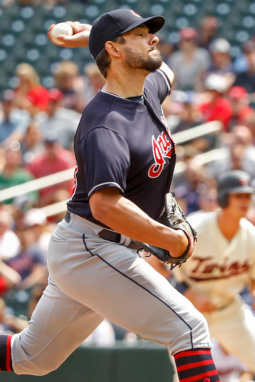 . Cleveland Indians relief pitcher Brad Hand throws to the Minnesota Twins in the eighth inning of a baseball game Wednesday, Aug. 1, 2018, in Minneapolis. The Indians won 2-0. (AP Photo/Bruce Kluckhohn)