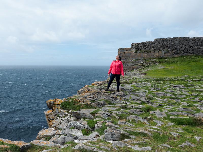 Amanda at Dún Aonghasa on Inis Mor