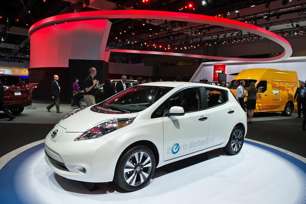 . The Nissan LEAF is display at Los Angeles Auto Show on Wednesday, Nov. 20, 2013, in Los Angeles. (Photo by Watchara Phomicinda/San Gabriel Valley Tribune)