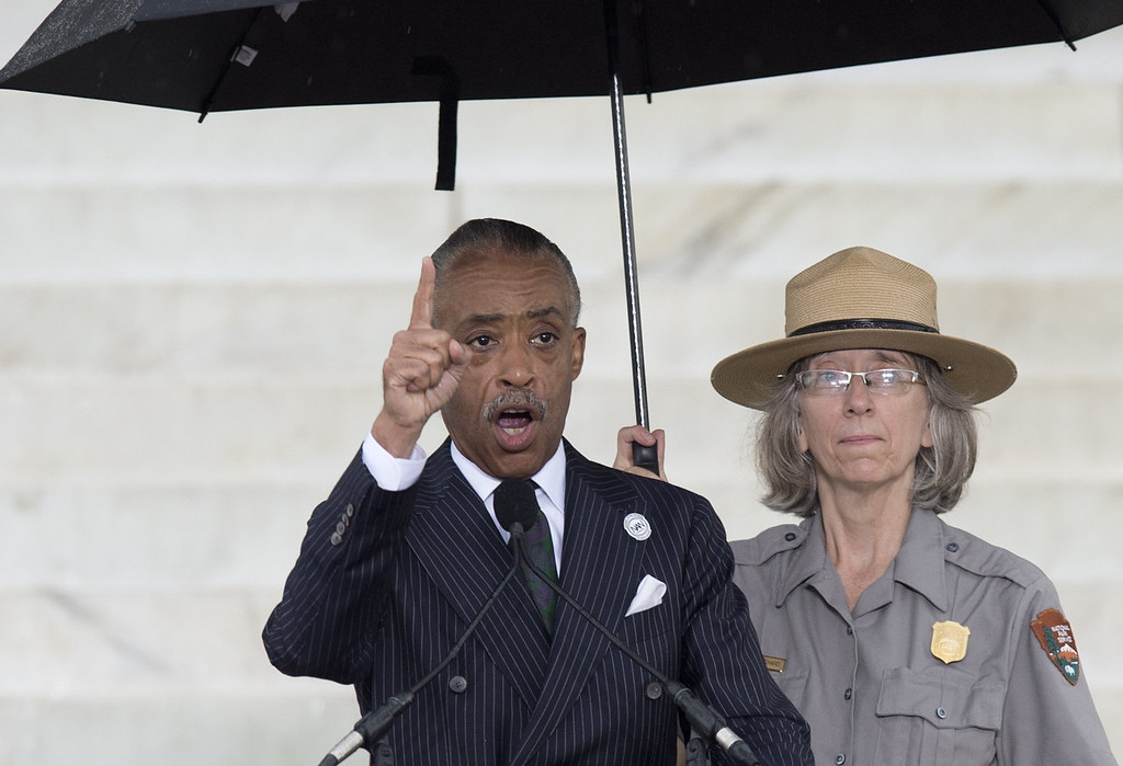 """. Reverend Al Sharpton speaks during the Let Freedom Ring Commemoration and Call to Action to commemorate the 50th anniversary of the March on Washington for Jobs and Freedom at the Lincoln Memorial in Washington, DC on August 28, 2013. Thousands will gather on the mall on the anniversary of the march and Dr. Martin Luther King, Jr.\'s famous \""""I Have a Dream\"""" speech.   SAUL LOEB/AFP/Getty Images"""