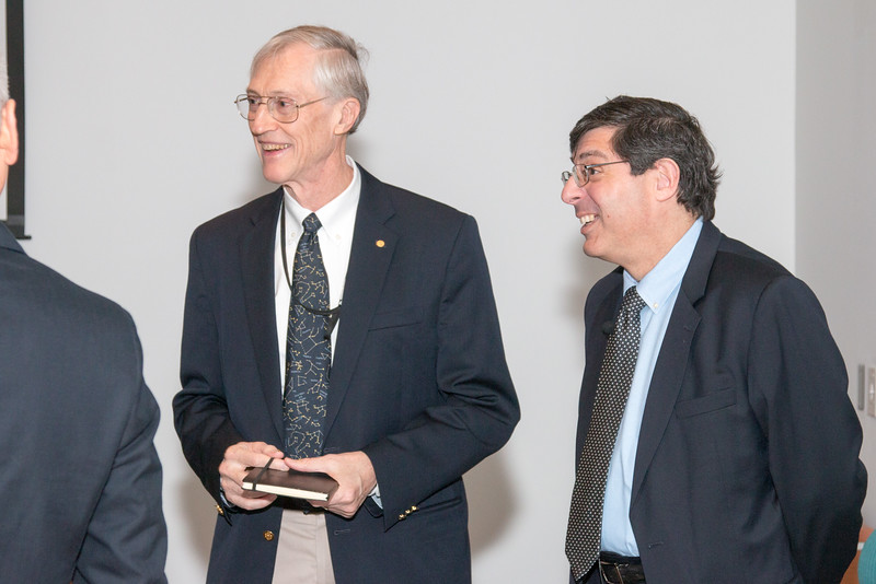 John Mather with Center Director Chris Scolese -- NASA/GSFC Career Celebration for John Mather (40 years), Floyd Stecker (50 years), and Peter Serlemitsos (55 years), Greenbelt, Nov 17, 2016.