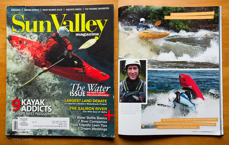 (photo upper right) Ryan Casey boofing over Dinosaur rock on the North Fork Payette River during flood in Idaho. Sun Valley Magazine Summer/Fall 2011