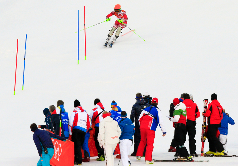 . Switzerland\'s Sandro Viletta competes during the Men\'s Alpine Skiing Super Combined Slalom at the Rosa Khutor Alpine Center during the Sochi Winter Olympics on February 14, 2014. (ALEXANDER KLEIN/AFP/Getty Images)