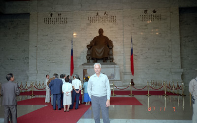 Interior of the Chiang Kai Shek Memorial Building.  A statue of him, naturally!