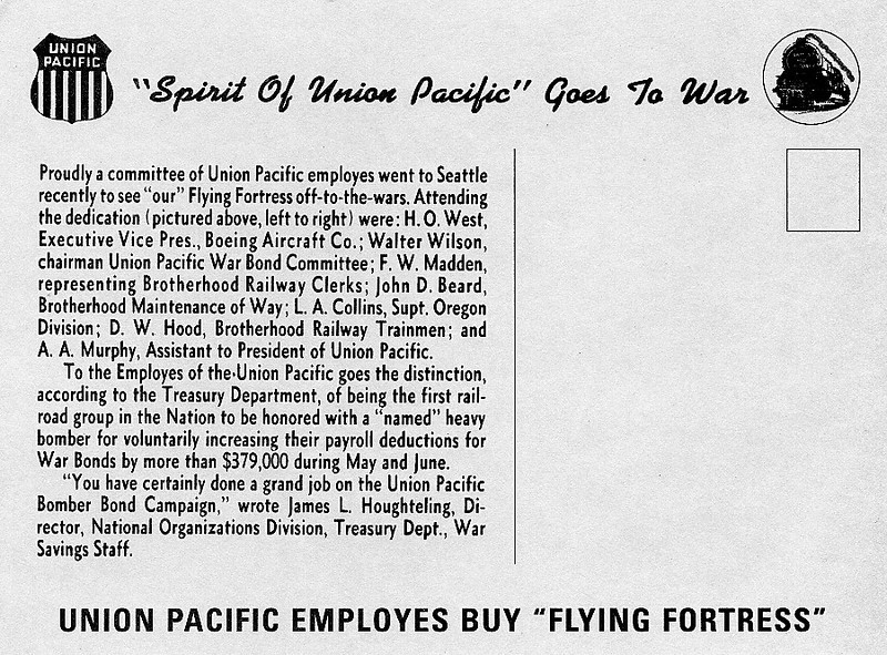 The back of the postcard given to all Union Pacific employees.