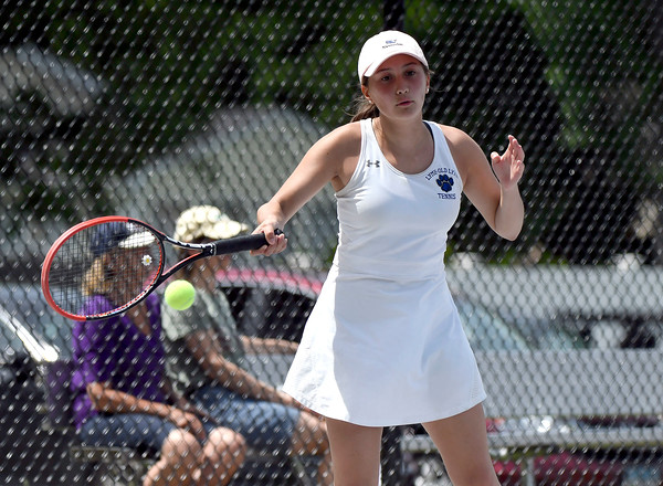 5/26/2018 Mike Orazzi   Staff Old Lyme High Schools Brynn McGlinchey during the 2018 Class S Girls Tennis Tournament with St. Paul Catholic High School held at Bristol Eastern High School in Bristol Saturday.