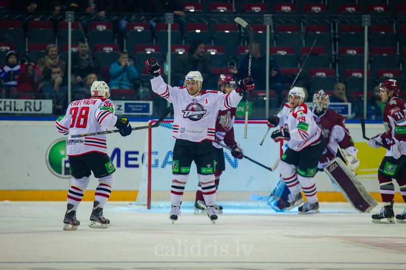 Varlamov Sergei (44) celebrates his goal during KHL regular championship game between Dinamo Riga and Donbass Donetsk in Arena Riga