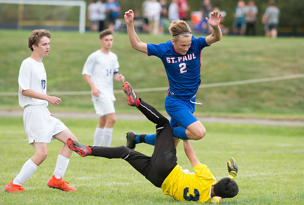 09/30/19 Wesley Bunnell | StaffrrSt. Paul boys soccer defeated Kennedy in a home game on Monday afternoon. Nathan Duhaime (2).