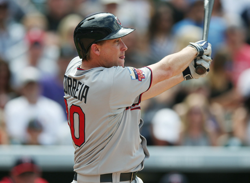 . Minnesota Twins\' Kevin Correia follows the flight of his RBI-double against the Colorado Rockies in the fourth inning of an interleague baseball game in Denver on Saturday, July 12, 2014. (AP Photo/David Zalubowski)