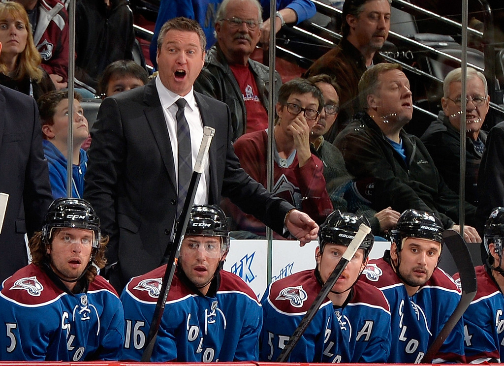 . Colorado Avalanche head coach Patrick Roy yells against the Minnesota Wild during the second period of an NHL hockey game on Saturday, Nov. 30, 2013, in Denver. (AP Photo/Jack Dempsey)