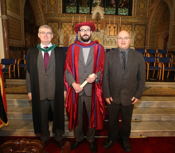 Pictured is Enda Coates, Newbridge, Co Kildare who were conferred a Doctor of Philosophy, also pictured is Tom Kent, Supervisor and Michael Pedini. Picture: Patrick Browne.