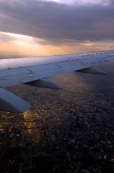 Passenger airliner flying over London, United Kingdom