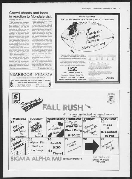 Daily Trojan, Vol. 97, No. 12, September 19, 1984