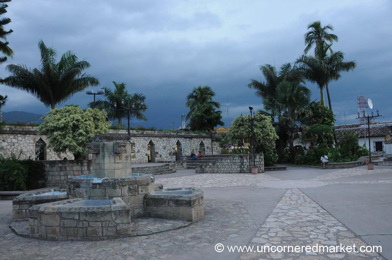 Deserted Main Square - Copan Ruinas, Honduras