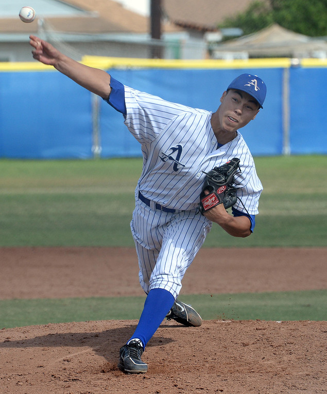 . Bishop Amat starting pitcher Alex Garcia throws to the plate against La Salle in the third inning of prep baseball game at Bishop Amat High School in La Puente, Calif., on Tuesday, May 6, 2014. (Keith Birmingham Pasadena Star-News)