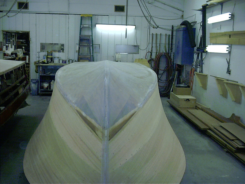 Front view of epoxy sanded with the hull ready to be turned right side up.
