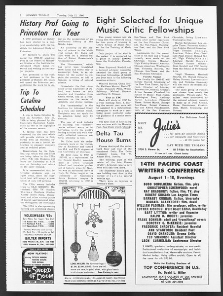 Summer Trojan, Vol. 17, No. 6, July 12, 1966