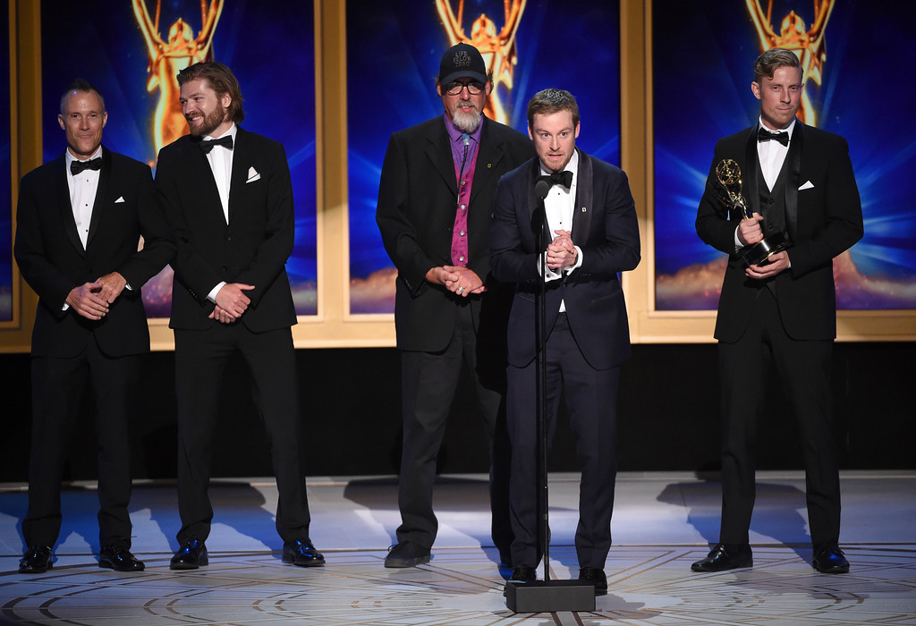 ". The team from ""Life Below Zero - Series Bodies of Work\"" accepts the award for outstanding cinematography for a reality program during night two of the Television Academy\'s 2018 Creative Arts Emmy Awards at the Microsoft Theater on Sunday, Sept. 9, 2018, in Los Angeles. (Photo by Phil McCarten/Invision/AP)"
