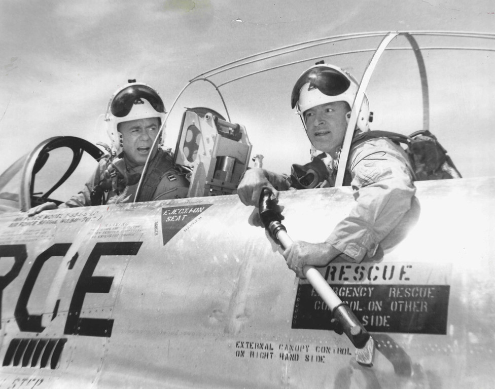 . Bob Hope turns jet pilot in this scene from his next special, filmed at the Air Force Academy in Colorado Springs. 1960. The Denver Post Library Archive