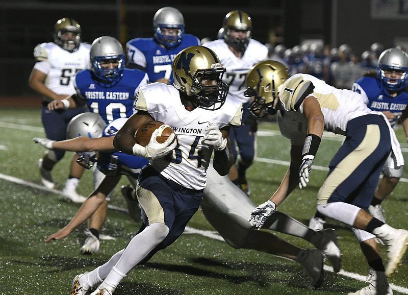 9/28/2017 Mike Orazzi | Staff Newington's Aveontae Frazier (34) during Thursday night's football game in Bristol.