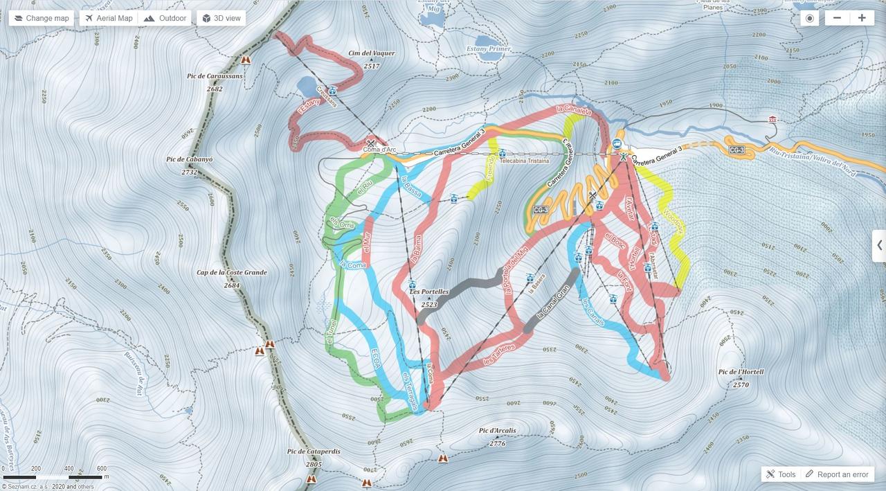 Mapa de pistas de esquí de Mapy