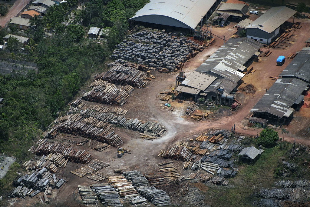""". View of the so called Rainbow sawmill during an overflight by Greenpeace activists over areas of illegal exploitation of timber, as part of the second stage of the \""""The Amazon\'s Silent Crisis\"""" report in Santarem, state of Para, Brazil, on October 14, 2014. RAPHAEL ALVES/AFP/Getty Images"""