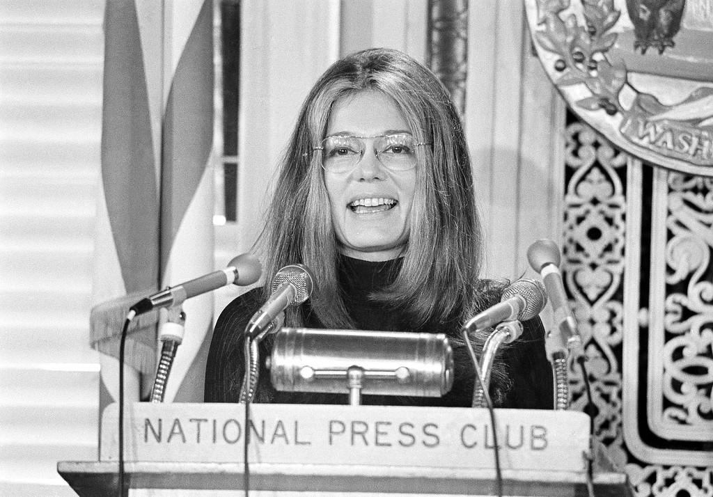 . Women\'s Liberation advocate Gloria Steinem is the speaker at the National Press Club in Washington, Jan. 24, 1972. (AP Photo/John Duricka)