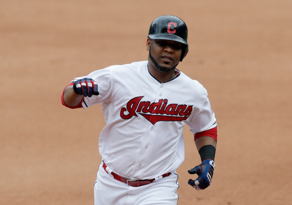 . Cleveland Indians\' Edwin Encarnacion runs the bases after hitting a solo home run off Chicago White Sox relief pitcher Chris Volstad in the fourth inning of a baseball game, Wednesday, May 30, 2018, in Cleveland. (AP Photo/Tony Dejak)