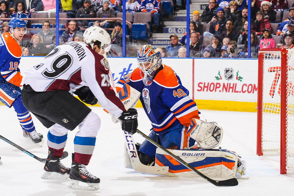 . EDMONTON, AB - DECEMBER 5: Devan Dubnyk #40 of the Edmonton Oilers defends net against Nathan MacKinnon #29 of the Colorado Avalanche during an NHL game at Rexall Place on December 5, 2013 in Edmonton, Alberta, Canada. (Photo by Derek Leung/Getty Images)